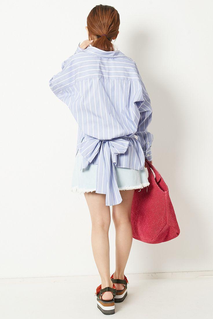 【予約販売】リボンシャツストライプ アメリカンラグ シー/AMERICAN RAG CIE