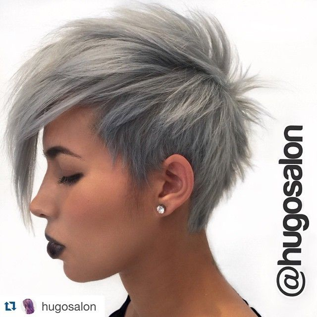 Granny grey hair trend .... changed it up just a little bit before our next big change! @nothingbutpixies #pixie #mohawk @wellahair #wellacolor #instamatic @behindthechair_com @repostapp. ・・・ A perfect grey #pixie by @athanasia_zografos on @mairamelissa_. #hugosalon