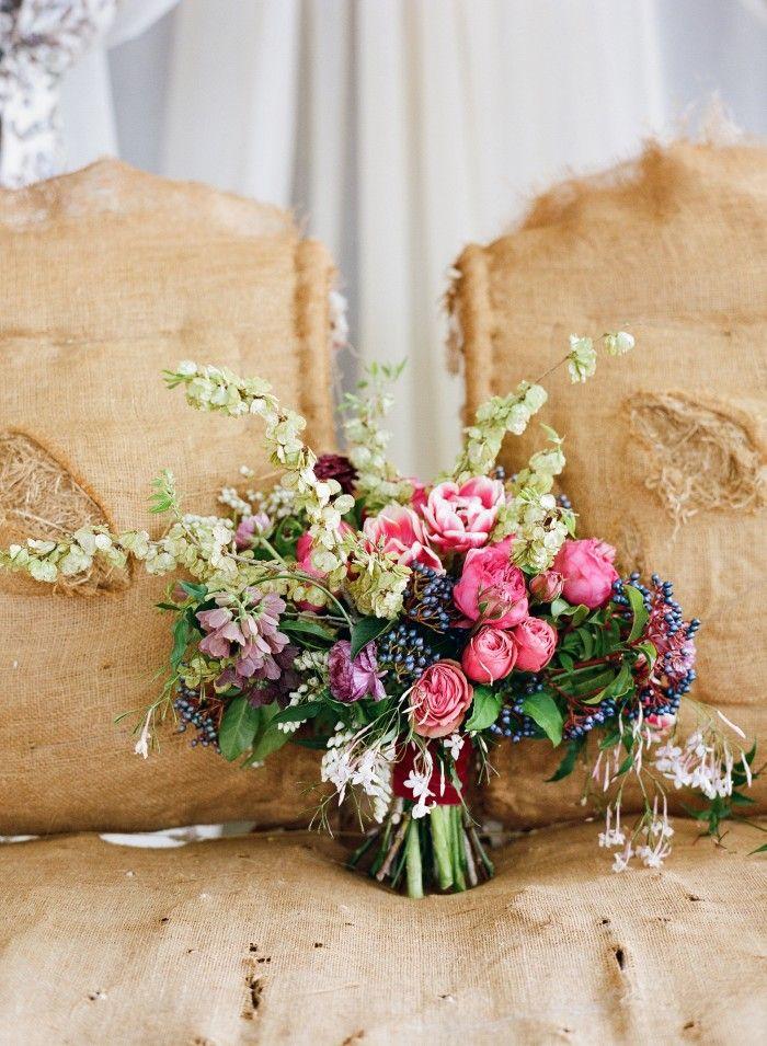 pink, purple and blue lush wedding bouquet | floral design: floret | photo: jose villa