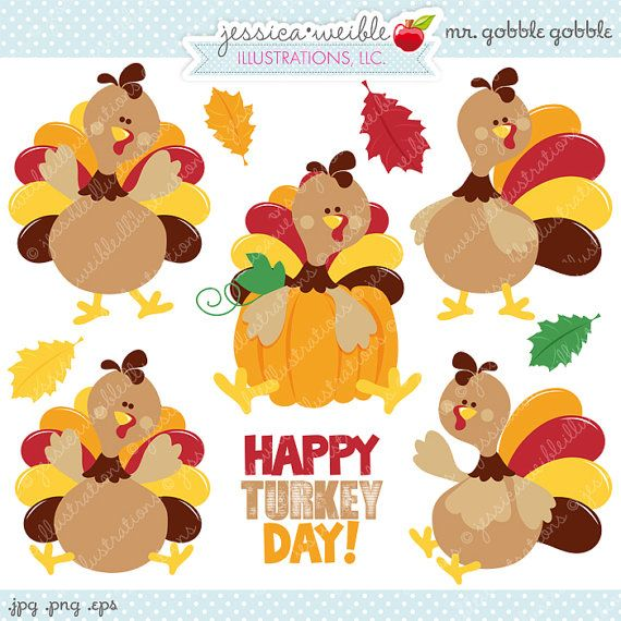 Mr Gobble Gobble - Cute Digital Clipart - Commercial Use OK, Turkey Clipart, Turkey Graphics, Thanksgiving Clipart