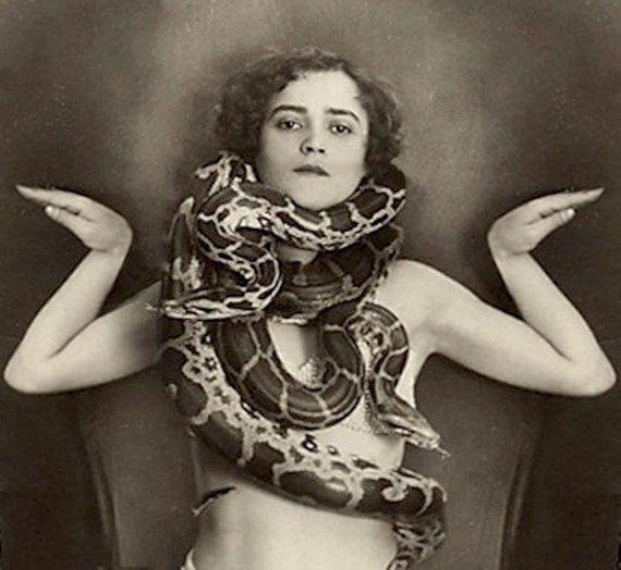 Circus Freak Photo Snake Charmer Girl Woman Erotic Nude