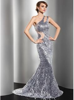 New Years Eve  Trumpet/Mermaid One-Shoulder Sweep Train Tulle Sequined Evening Dress (017014549) - JJsHouse