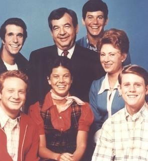 1970's Happy Days was an American television sitcom that originally aired from January 15, 1974, to September 24, 1984, on ABC. Created by Garry Marshall, the series presents an idealized vision of life in the mid-50's to mid 60's United States. Ron Howard, Marion Ross, Anson Williams, Tom Bosley, Henry Winkler, Donny Most, Erin Moran, Al Molinaro,