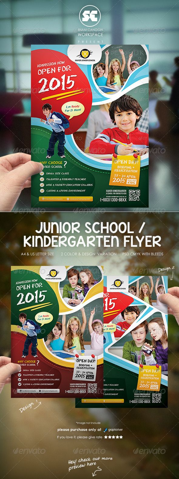 Kindergarten Junior School Flyer — Photoshop PSD #admission #promotion • Available here → https://graphicriver.net/item/kindergarten-junior-school-flyer/7524968?ref=pxcr