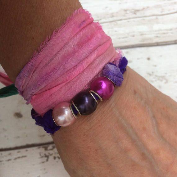 Wrap Bracelet Wrap Sari Bracelet Sari Silk Wrap Bracelet