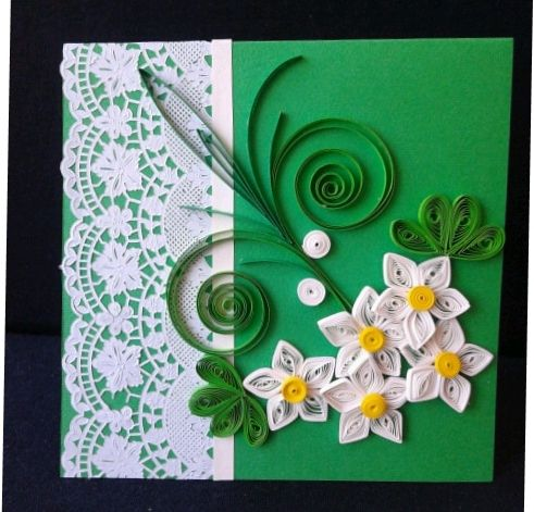 Green quilling card https://www.facebook.com/pages/PokloniMe/861821820549351