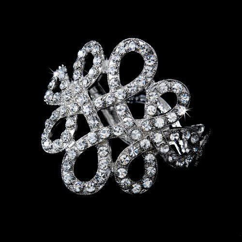 """Silver Ribbon Rhinestone Crystal Cuff Bridal Wedding Bracelet Melissa Kay Collection. $51.25. Alloy Lead Free. silver plated. Size: opens on a hinge to 4"""". Save 33%!"""