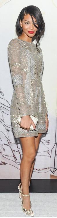 Chanel Iman's J. Mendel Spring 2014 Embellished Dress