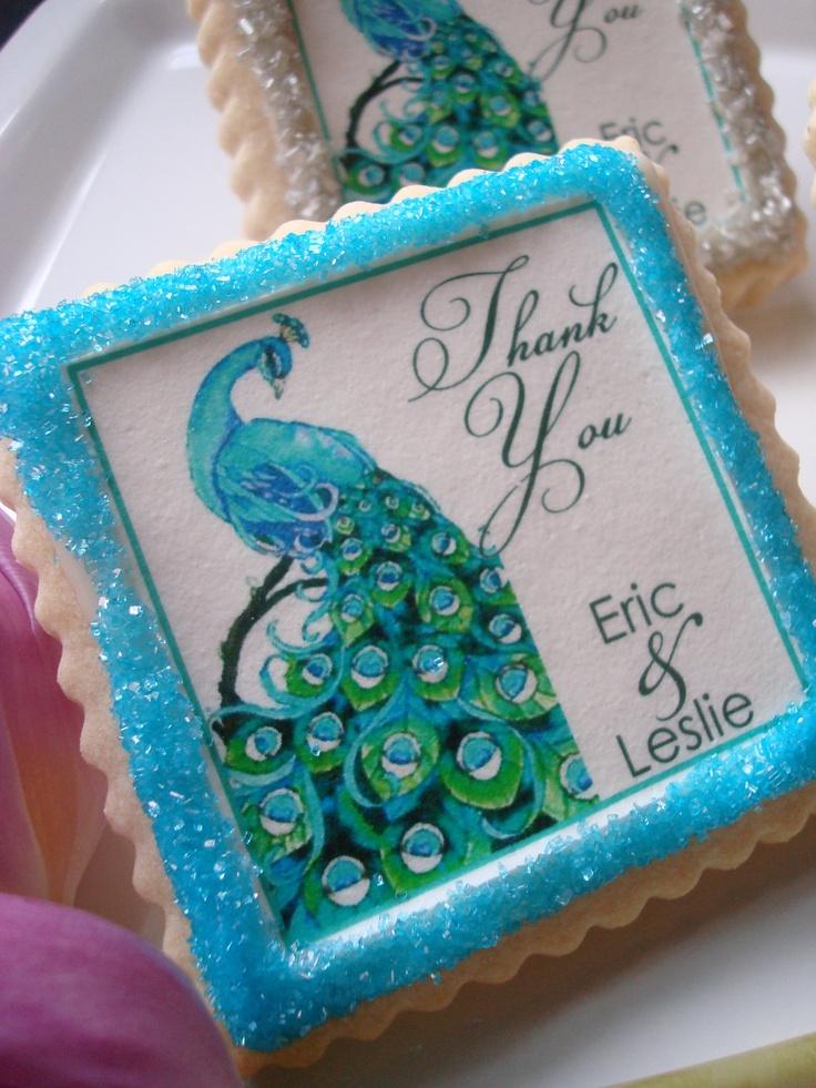 Peacock Wedding Personalized Cookie Favors. $36.00, via Etsy.