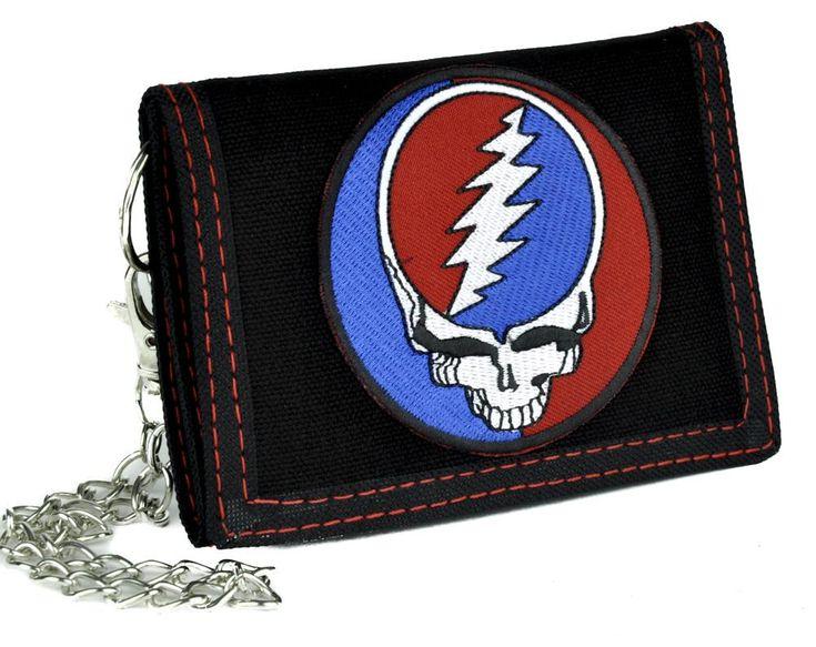 Grateful Dead Skull Tri-fold Wallet with Chain Alternative Clothing Jerry Garcia  #hat #gothic #horrormovie #rockabilly #occultclothing