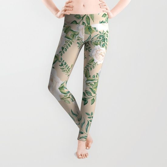 Garden Roses Mandala Pink Green Cream Leggings