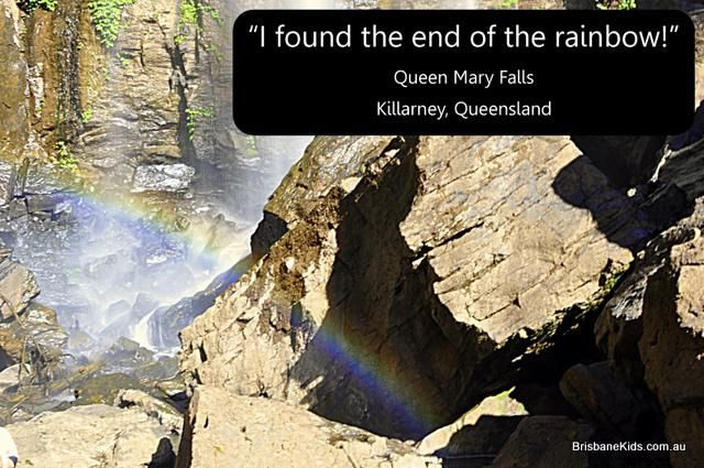 """Queen Mary Falls, Killarney, Qld. Brisbane Day Trips. The end of the rainbow.  The continuous bursts of vibrant colour hovered in the air, right in front of me, and disappeared into the base of the waterfall. Incredible! So next time the kids ask what is at the end of the rainbow, I'll say, """"A waterfall"""". I wonder if treasure is buried somewhere deep beneath the water?"""