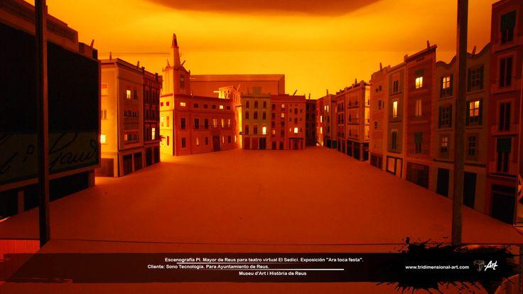 Recreaciones holográficas virtuales 3D  sobre escenografía de Pl. Mayor de Reus, Barcelona, España