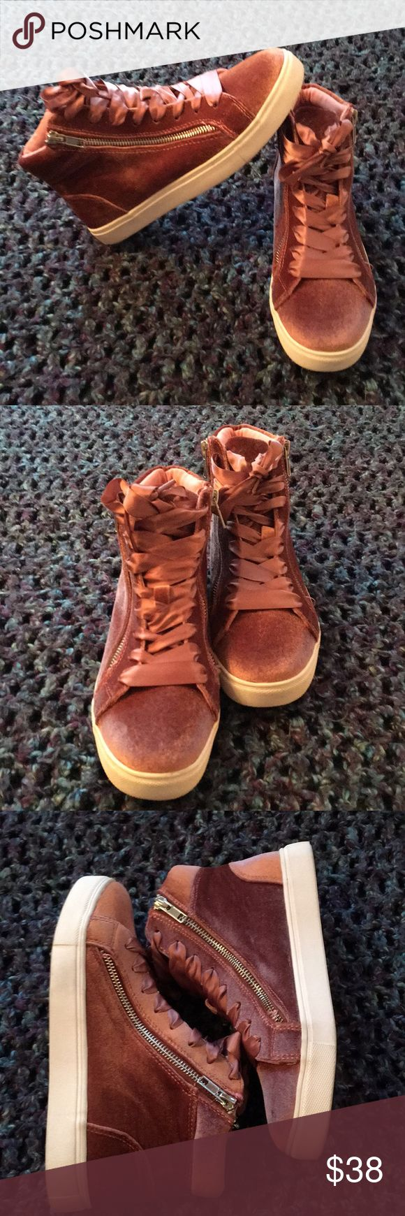 Madden Girl Faux Velvet Hightop Ribbon Lace Sneaks These are NWT but I no longer have the box.  They are super cute Zip-up side, ribbon laced sneakers.  Size 7 1/2 Madden Girl Shoes Sneakers