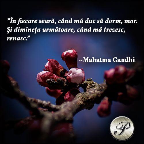 """""""În fiecare seară când mă duc să dorm, mor. Și dimineața următoare, când mă trezesc, renasc."""" Mahatma Gandhi"""