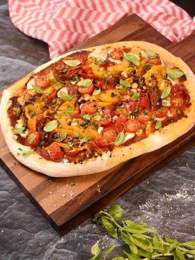 Pizza végétarienne aux légumes grillés d'aucy et aux herbes  - Marmiton