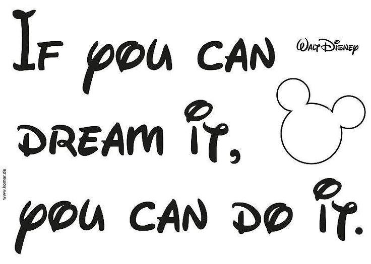 Macht jede Wand zu einem Highlight!  Mit dem schönen Decosticker »You can do it« der Marke Komar wird die Wanddekoration zum Kinderspiel.  »If you can dream it, you can do it.« Das berühmte Zitat von Walt Disney ist Motivation pur.  Der Untergrund muss fett-, staubfrei und sauber sein, dann ist die Anbringung sehr einfach und der Decosticker lässt sich immer wieder neu platzieren und rückstands...