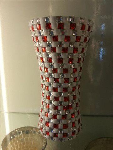 Ceramic Flower Vase With Square Stones - g5291