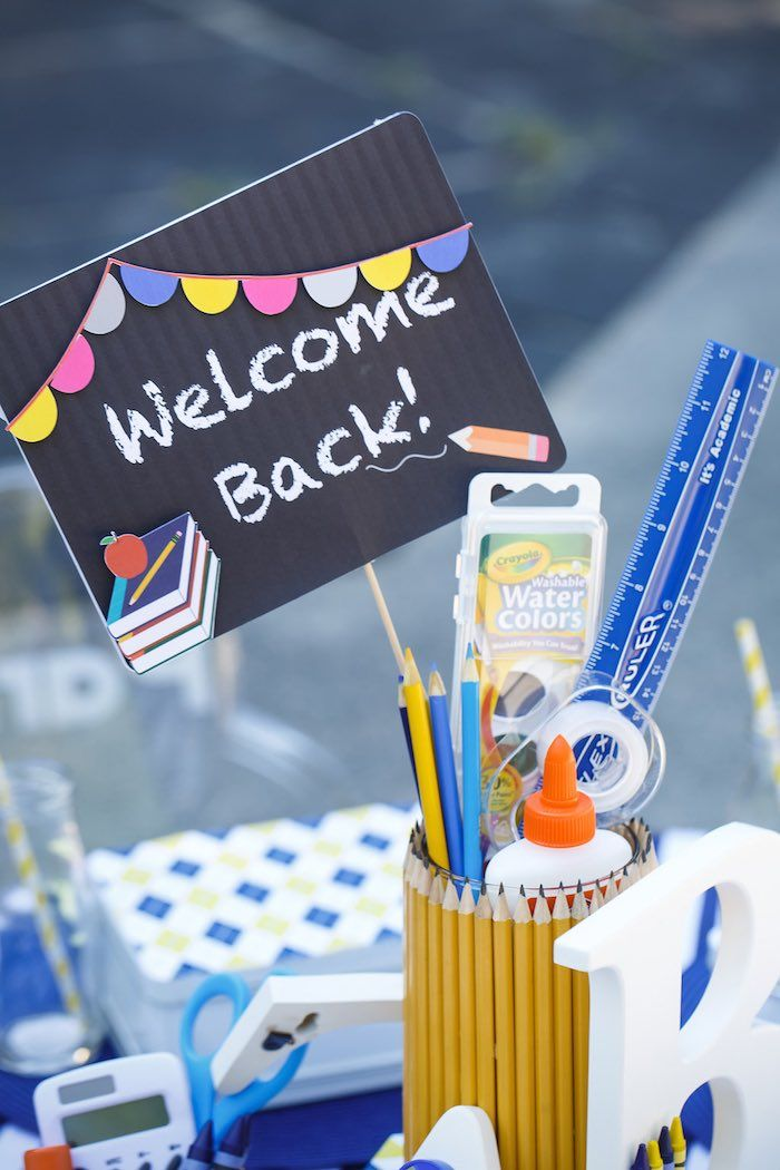 """""""Welcome Back"""" Sign from a Back to School Party via Kara's Party Ideas   KarasPartyIdeas.com (46)"""