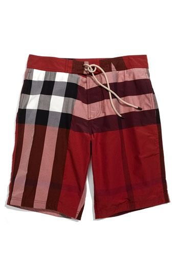 Burberry Brit Check Print Board Shorts (Men) available at #Nordstrom
