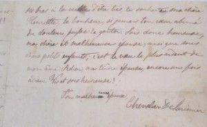 Extrait d'une lettre du Chevalier De Lorimier à sa femme, Henriette Cadieux De Lorimier, le 15 février 1839. BAnQ Vieux-Montréal, collection des petits fonds et collections d'archives manuscrites d'origine privée (P1000,D1267).