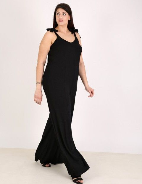 Ολόσωμη φόρμα με δέσιμο στις τιράντες - Μαύρο