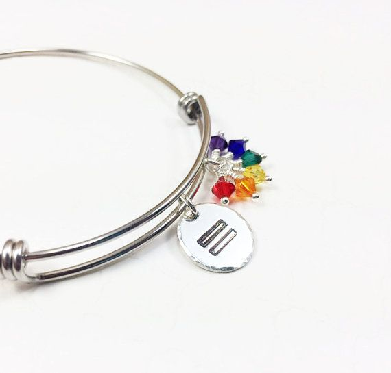 Gay Pride Bracelet - LGBT Flag Jewelry - Coming Out Gift - Lesbian Jewelry - Gay Rights - Personalized Bracelet - Hand Stamped Bangle