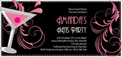 Cocktail Dream Hens Night Invitations