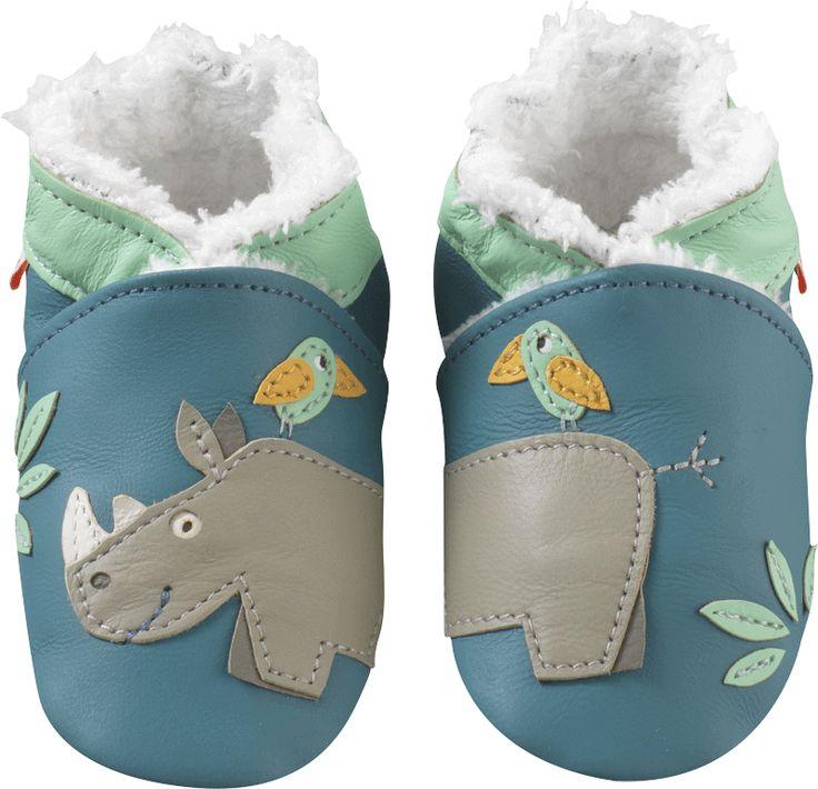 Chaussons bébé cuir souple fourrés rhinocéros - Chaussons bebe cuir - chaussons bébé en cuir - chaussons en cuir souple - Tichoups