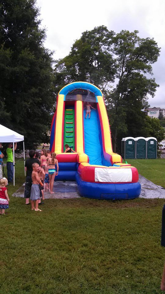 The kids had the best method of cooling off with this water slide at Patriot Festival