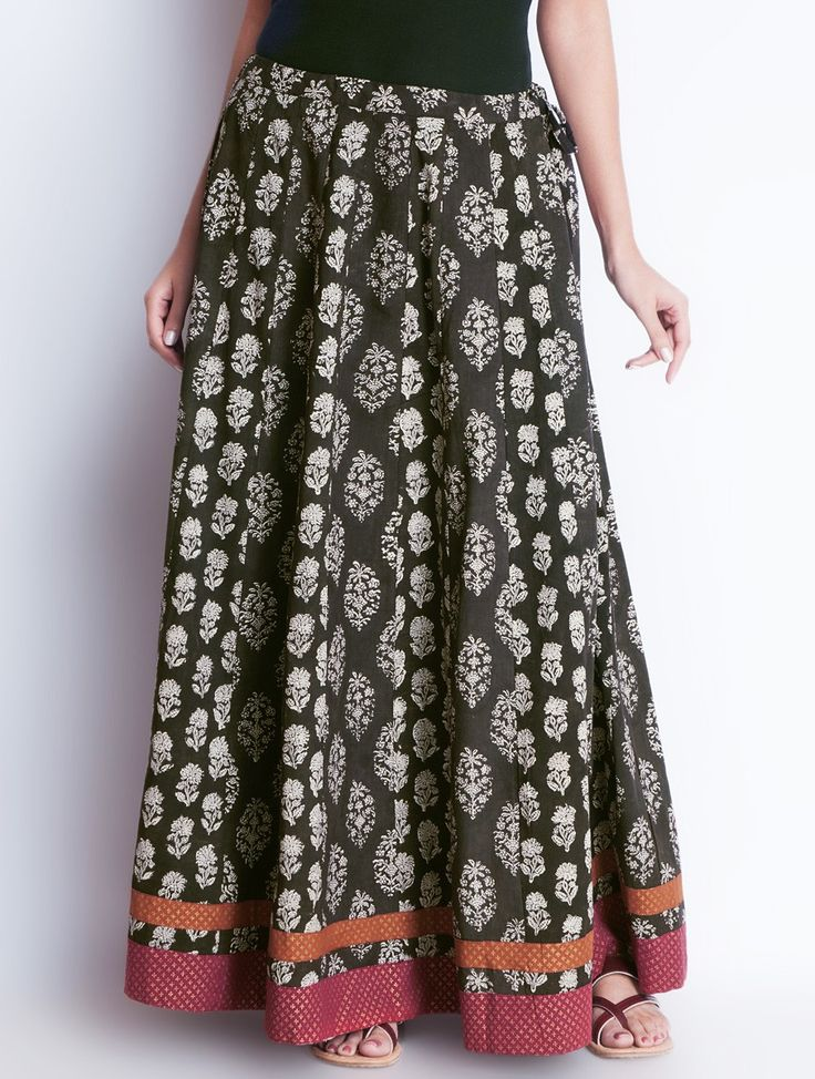 Buy Brown Khari Hand Block Printed Tie Up Waist Cotton Skirt Free Size Apparel Pants & Skirts Earthy Impressions Online at Jaypore.com