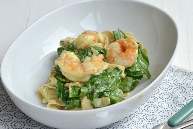Pasta met garnalen en spinazie à la Vapiano