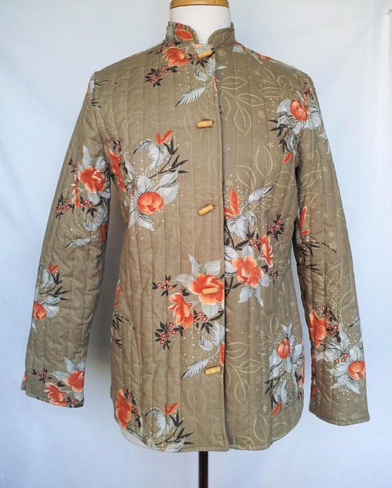 1970s Quilted Jacket Two Potato Mandarin Collar Wood Barrel