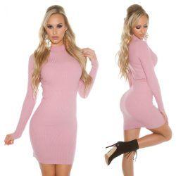 Rózsaszín garbós kötött miniruha/tunika