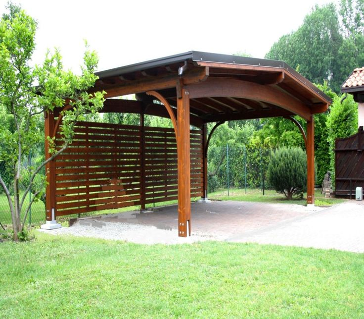 Wooden carport pergola gazebo, knock out the back wall.  Pretty arches.