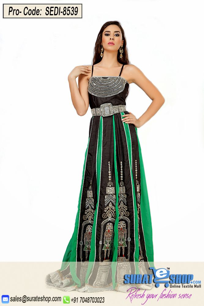 Make The Heads Turn Whenever You Dress Up In This Sort Of A Wonderful Black & Green Chiffon, Silk Gown. The Beautiful Gold Zardosi, Patch Work, Sequins, Stones Work A Vital Attribute Of This Attire. Paired With A Matching   Visit: http://surateshop.com/product-details.php?cid=2_27_47&pid=12224&mid=0