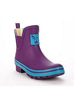 Evercreatures Ladies Short Wellies Purple With Turquoise Edging 7