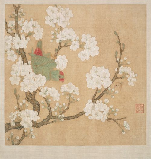 Parrot and insect amongst pear blossoms. Ink and colour on silk by Huang Jucai (10th century). Museum of Fine Arts, Boston Google Art Project: Home via Wikimedia.