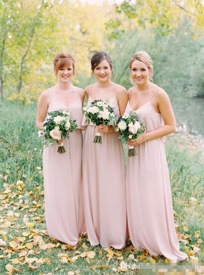 Pale Pink Long Country Bridesmaid Dresses Spaghetti Straps A Line Cheap 2017 Plus Size Wedding Party Dress Maid Of Honor Gowns Sexy Simple Alexia Bridesmaid Dresses Baby Bridesmaid Dresses From Sunnybridal01, $82.74| Dhgate.Com