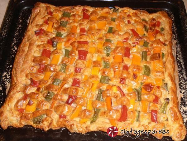 """Τάρτα """"ουράνιο τόξο"""", με ζαμπόν και mozzarella #sintagespareas"""