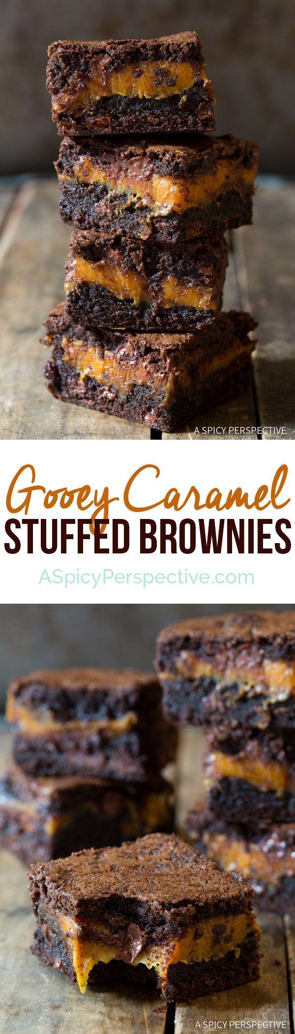 Gooey Caramel Stuffed Brownies | http://ASpicyPerspective.com