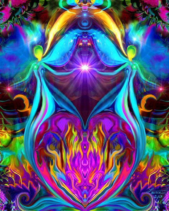 Violet Flame Heart Reiki Energy Art Twin Angels por primalpainter