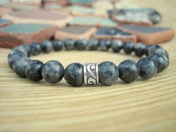 Mens Black Moonstone Bracelet  Silver Celtic by MerkabaWarrior, £18.00