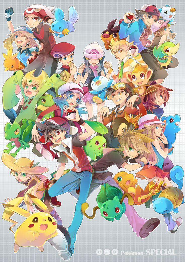 Tags: Fanart, Pokémon, Pokémon SPECIAL, Pixiv, Pikachu, Hikari (Pokémon), Piplup, Haruka (Pokémon), Yellow (Pokémon), Squirtle, Mudkip, Charmander, Chikorita, Hibiki (Pokémon), Silver (Pokémon), Totodile, Red (Pokémon), Kris (Pokémon), Blue (Pokémon), Green (Pokémon), Bulbasaur, Kouki (Pokémon), Jun (Pokémon), Yuuki (Pokémon), Turtwig, Quilava, Torchic, Treecko, Chimchar, Emerald (Pokémon), Touko (Pokémon), Tepig, Oshawott, Snivy, Touya (Pokémon), Starter Pokémon, Pixiv Id 842378