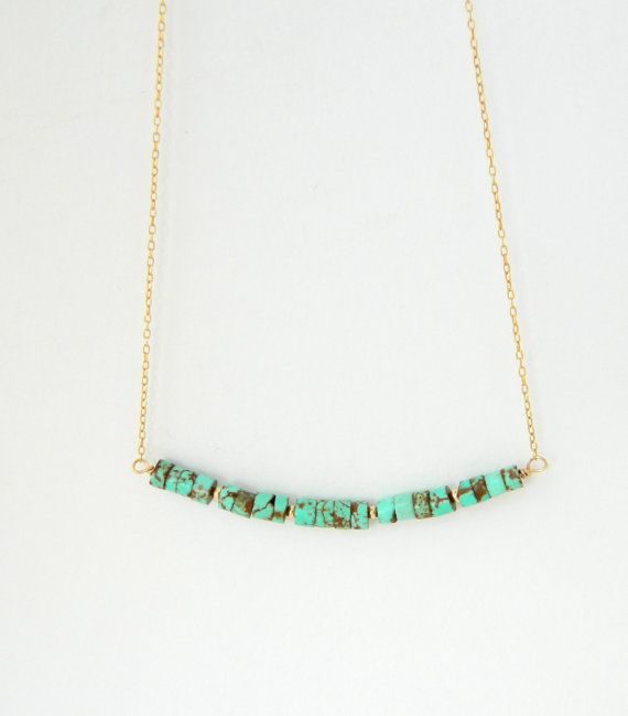 Turquoise Gold Necklace Turquoise Jewelry by camilaestrella, $26.00