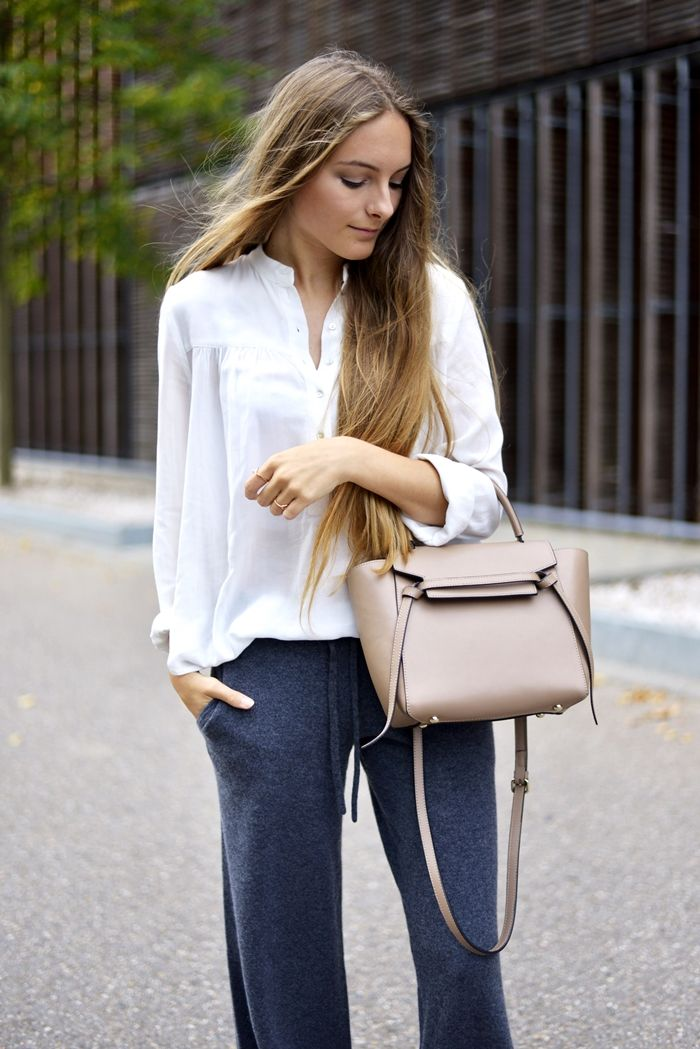 German fashion blogger Anna Rall wearing Citizen Cashmere's lounge pants in her recent post showing off her latest street wear inspiration.