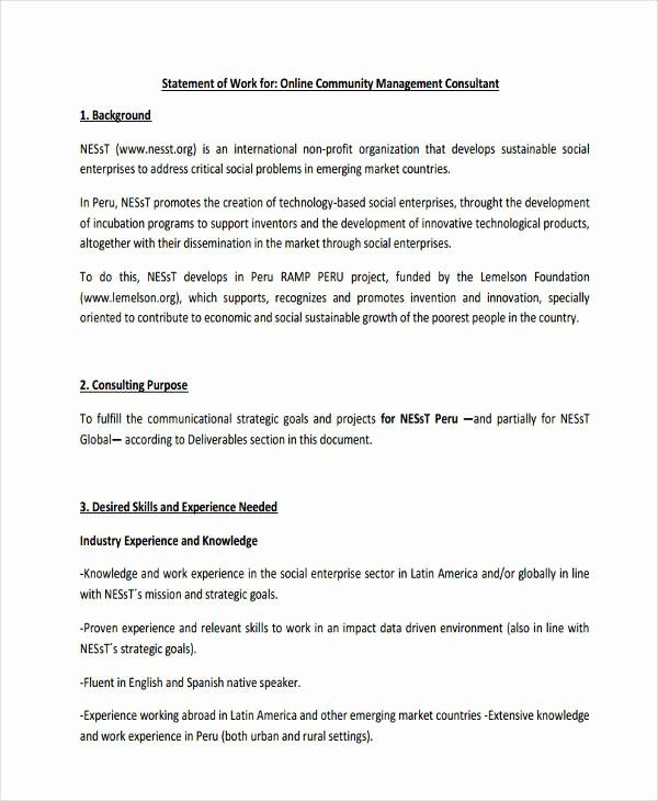 Statement Of Work Template Consulting Lovely 31 Statement Of Work Examples Samples Pdf Word Pages Statement Of Work Statement Free Business Card Templates