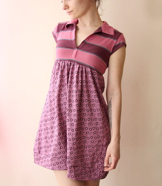 striped floral dress in purple shades refashioned by jiorji