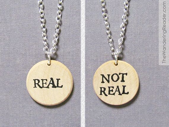 "Double-sided ""Real, Not Real"" necklace"
