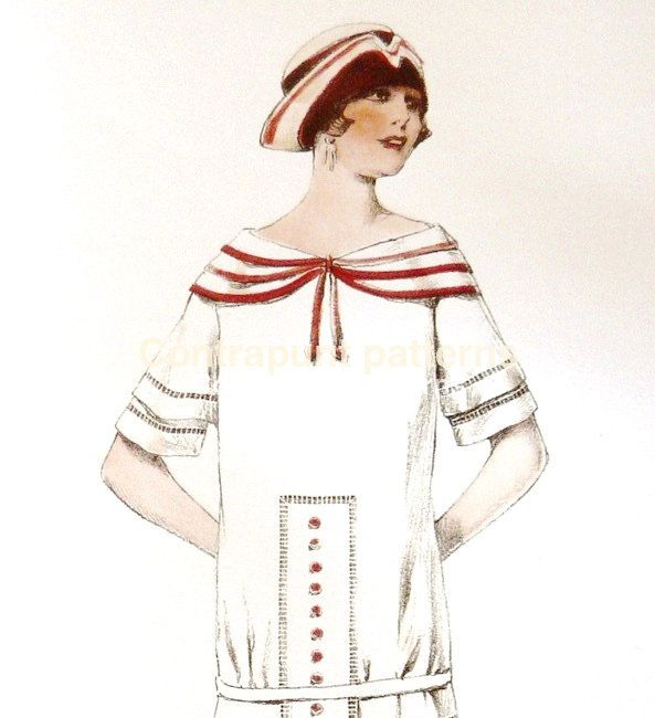 1920s triple sailor collar in a dress sewing pattern. by ContrapuntPatterns on Etsy